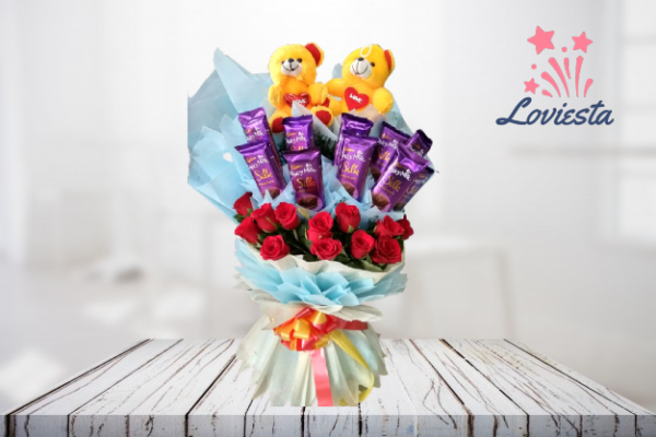 Bouquet of Teddy, Chocolates & Roses