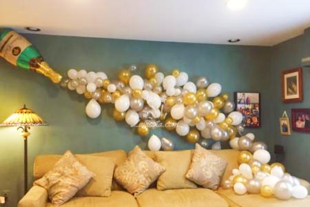 Champagne bottle decoration for celebration