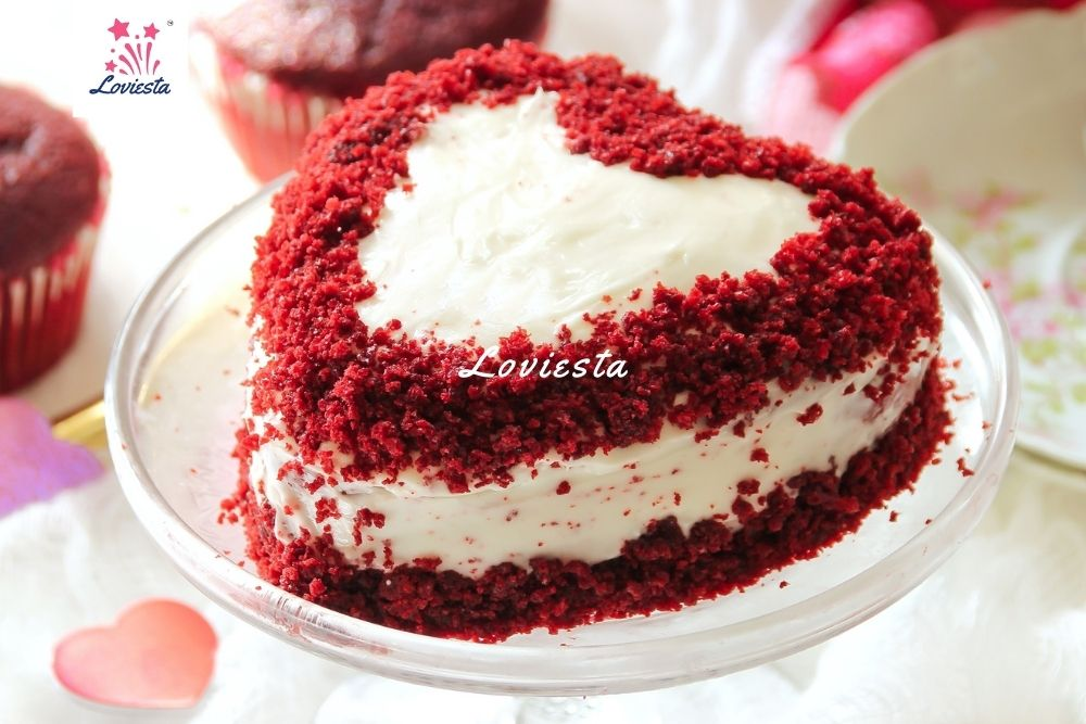 Red Velvet Heartshape Cake Delivery At Home