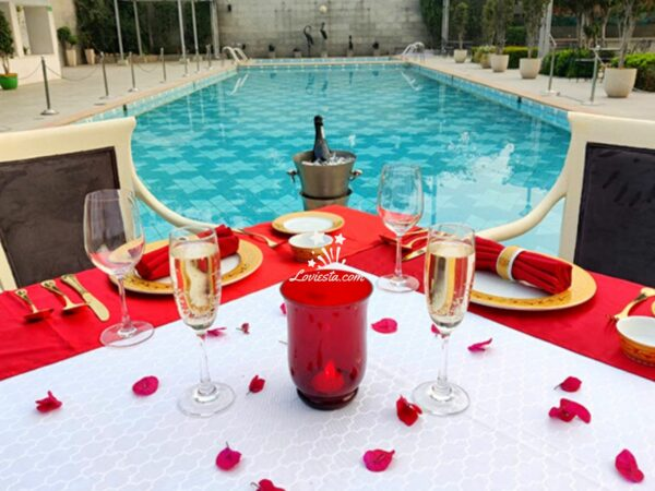 Poolside candlelight Dinner in South Delhi